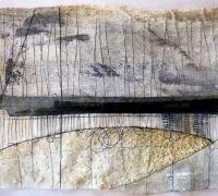 Marshscape Collage #10, Cotton duck, linen, wax, metal, found thread. Debbie Lyddon