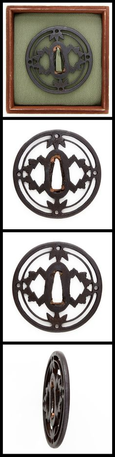 Edo On the round shape iron Tsuba, Leaves are engraved with openwork.