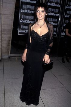 Goth fashion- (Winona Ryder)- dress derived from literary and art versions of characters in gothic novels and stories, in which vampires dress in black gowns and accessories