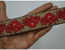 Красный цвет. Сари обрезка ткань Лента золото металлическая ткань Сари граница