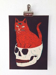 CAT & SKULL  Screen Print by triangletrees on Etsy