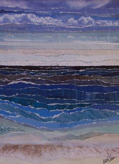 Rip Tides - torn paper collage - Julia Watts Coleman, U. Collage Landscape, Landscape Quilts, Paper Collage Art, Paper Art, Collages, Paper Mosaic, Art Textile, Sea Art, Mixed Media Collage