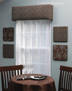 Custom Chevron Window cornice -- DIY your own window cornices from foam sheets and save big $$s.