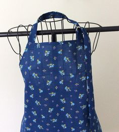 Full Vintage Apron Dark Blue with Purple and Light Blue