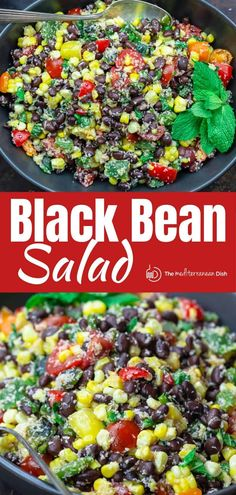 This easy black bean and corn salad is so not your average! Satisfying and super bright, thanks to lime juice and fresh herbs! Grab the full recipe. Corn Salad Recipes, Corn Salads, Chicken Salad Recipes, Healthy Chicken, Black Bean Corn Salad, Black Bean Salad Recipe, Mediterranean Diet Recipes, Mediterranean Dishes, Vegetarian Recipes