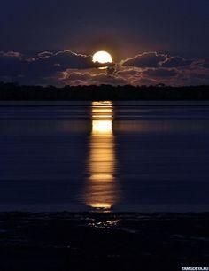 Картинка 500x650 Лунная дорожка на воде спокойного озера | Тэги: Луна | Вода