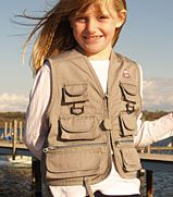 For fishing trips or every day, this superior quality child-sized fishing vest is perfect for your little angler. Eight pockets give him room for his gear. $19.99