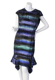 """Details:  Size 10  Bust: 42"""" Waist: 33"""" Hips: 42"""" Top-to-bottom: 39""""   Invisible zipper in back.   Material:  Shell: 100% Silk Lining: 56% Acetate, 44% Viscose  Condition:   Worn once, excellent condition."""