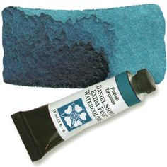 """Phthalo Turquoise (PB15 PG36) 15ml Tube, DANIEL SMITH Extra Fine Watercolor """"This Daniel Smith exclusive is a favorite of artists. It moves from a deep dark turquoise to a thin film of robin's egg blue in a single wash, making a remarkable transition from ground level to sky areas of garden florals."""""""