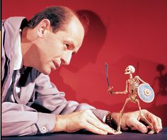 Ray Harryhausen with the skeleton from The 7th Voyage of Sinbad