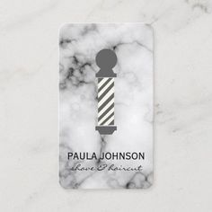 Barber Pole Marble Business Card Barber Business Cards