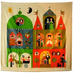 """Rare Alexander Girard """"House"""" Hanging. Herman Miller 1964  USA.  1960's  This rare 1964 8 color silk screen on linen represent the artists first foray in to into the large printed wall hangings."""