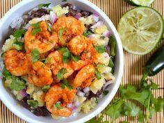 shrimp, mango salsa, rice & beans