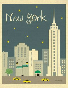 i love this illustration of New York City, Manhattan Art Print by loose petals