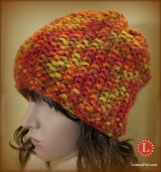 Bernat Viva in Rust . The perfect yarn option for some great Thanksgiving Knit Project Great autumn and winter colors.EASY Free Loom Knit Hat Pattern