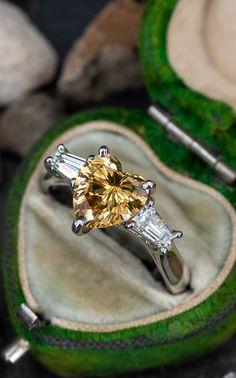 2 Carat Fancy Color Heart Diamond Engagement Ring, GIA Certified Sku PB17985 Heart Diamond Engagement Ring, Diamond Heart, Vintage Engagement Rings, Left Ring Finger, Color Heart, 2 Carat, Multimedia, Piercing, Gems