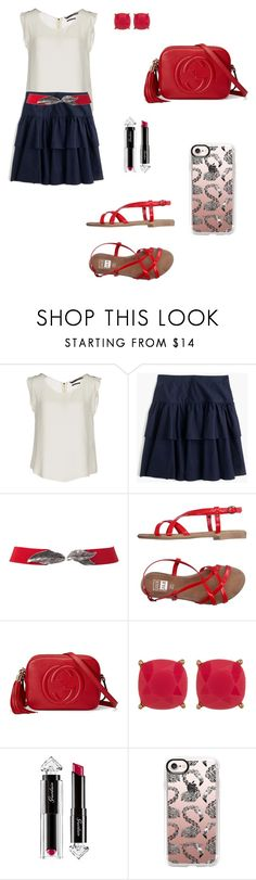 """""""Untitled #1265"""" by mariafilomena471 ❤ liked on Polyvore featuring Silvian Heach, J.Crew, Gucci, Carolee, Guerlain and Casetify"""