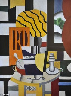 Painting of a 'Still Life with Candlestick' by Fernand Leger