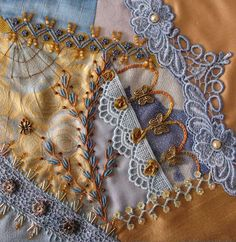 crazy quilts | ... crazy quilt block that will be used on my lace quilt. I shared the