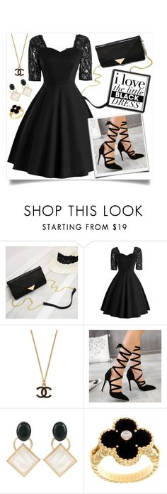 """""""little black dress by twinkledeals"""" by teto000 ❤ liked on Polyvore featuring Marni, Van Cleef & Arpels and vintage"""