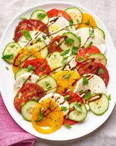 Recipe: Cucumber Caprese Salad Recipes from The Kitchn Mediterranean Diet Breakfast, Easy Mediterranean Diet Recipes, Mediterranean Dishes, Mediterranean Cucumber Salad, Fresh Tomato Recipes, Cucumber Recipes, Salad Recipes, Healthy Recipes, Potluck Recipes