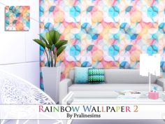 The Sims Resource: Rainbow Wallpaper 2 by Pralinesims • Sims 4 Downloads