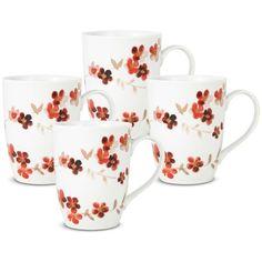 Lindsey Set of 4 Mugs featuring polyvore home kitchen & dining drinkware set of four mugs set of 4 mugs tea mugs porcelain tea mugs cocoa mugs