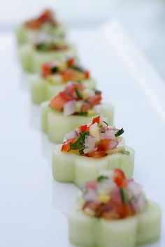 Presentation: cucumber flowers topped with a pico. No recipe linked-- but for inspiration.