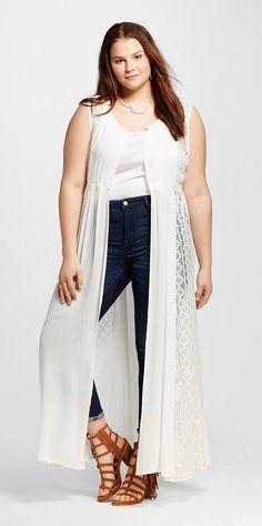 Plus Size Lace Inset Long Vest