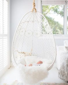 A bedroom is a perfect place for an indoor hanging chair. Find the perfect one for YOU! Five reasons why you should have a hanging chair in YOUR bedroom Cute Room Ideas, Cute Room Decor, Girl Bedroom Designs, Girls Bedroom, Bedroom Ideas, Unique Teen Bedrooms, White Bedrooms, Baby Bedroom, Dream Rooms