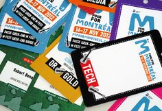 Données variables - M pour Montréal -  Description : accréditations personnalisées pour le festival M pour Montréal, avec insertion des éléments d'après la base de donnée et les photos fournies par le client -  Type d'impression : couleur recto verso -  Finition : plastification, coins ronds, un trou