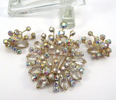 Stunning Aurora Borealis and Clear Crystal by VintageCreekside, $45.00