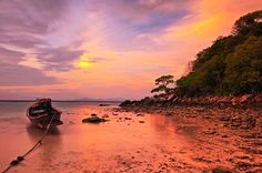 This is a photograph of the sunset light captured across Siam beach on the island of Koh Racha in Southern Thailand. I decided to include the lone, longtail boat in the composition before the tide came in. Oh The Places You'll Go, Places To Visit, Dream Vacation Spots, Beach Haven, Koh Chang, Travel Destinations Beach, And So The Adventure Begins, Beach Trip, Outdoor Travel