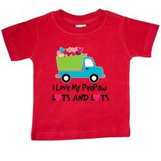 Inktastic I Love My PeePaw Grandpa Baby T-Shirt Heart Grandchild Childs Gift Cute Dump Truck Pee Paw Grandfather Grandparents T-shirt Infant Tees Shower Clothing Apparel Hws, Infant Boy's, Size: 6 Months, Red