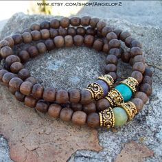 Bohemian Inspiration Wood Stack Beaded Stretch by Angelof2, $25.50