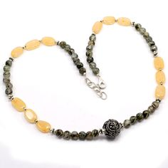 Yellow Agate & Black Rutile Quartz Silver Plated Fine Necklace Jewelry PG - 2381 #PinkCityGems #Necklace