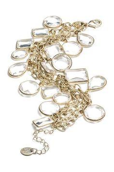 Danielle Stevens Glass Stone Chain Link Bracelet