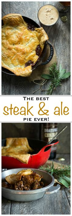 This Steak and Ale Pie is thick and rich with flavor, topped with a flaky puff pastry top | Foodness Gracious