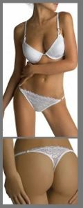 GABRY thong £6.99 in Ivory only tg3 medium 96-100cms at hip. Beautifully made Italian lingerie, the from The Movie Collection by Cometitalia features a sexy low rise thong in sumptuous smooth floral lace elastine. Dazzling side heart detailing at the hip and pretty rear 'V' detailing at the rear.