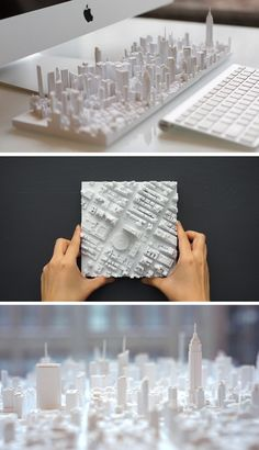 Now You Can Have New York In The Palm Of Your Hand // William Ngo, founding partner at TO+WN DESIGN, and Alan Silverman, principal at AJSNY, have worked together to create Microscape. Sketch Design, 3d Design, Design Model, Urban Design, Historical Architecture, Architecture Models, Architecture Layout, Web Design Mobile, 3d Printed Objects