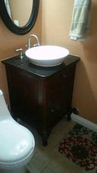 Used Vanity With Granite Top Mirror Light Fixture For Sale In