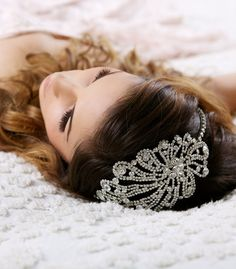 Art Deco Headband, Great Gatsby Headband, Crystal Headpiece, Silver Crystal Headband, Bridal Headpiece, Bridal Hair Piece, Tiara - VIRGINIA