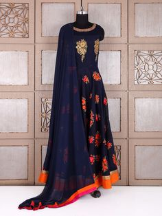 Shop Amazing navy silk anarkali suit online from G3fashion India. Brand - G3, Product code - G3-WSS22528, Price - 4940, Color - Navy, Fabric - Silk,