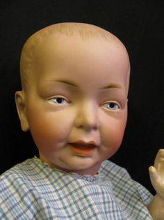 "19"" German Bisque RARE Fritz Bierschenk CHARACTER Antique Doll c1910"