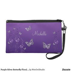 Purple Silver Butterfly Floral Wristlet Bag