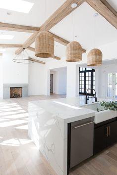 Family Home Interior open floor plan // modern home design // rattan pendant lights // exposed wood beams // light wash hardwood floors Home Interior Design, House Design, House Interior, Home Remodeling, Home, Cheap Home Decor, Kitchen Design, Home Decor, Cool Apartments