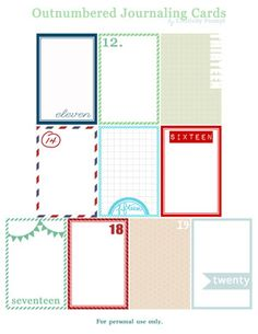 Daily Dec journaling cards, free printables