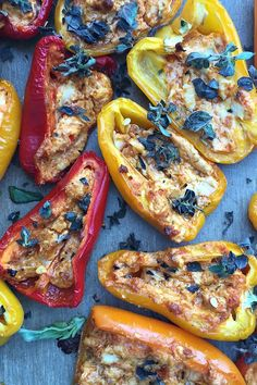 Pesto Goat Cheese Stuffed Mini Peppers | @sandycoughlin ReluctantEntertainer.com