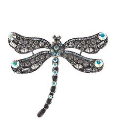 Look what I found on #zulily! Czech Crystal & Silver Dragonfly Brooch #zulilyfinds