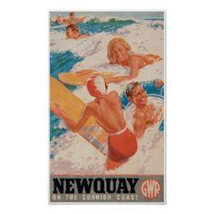 #vintage - #Newquay on the Cornish Coast Vintage Travel Poster